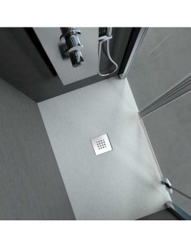 Piatto doccia in solid surface effetto pietra bianco 70x120