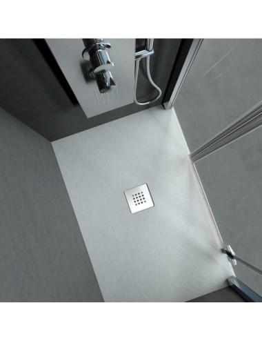 Piatto doccia in solid surface effetto pietra bianco 80x100